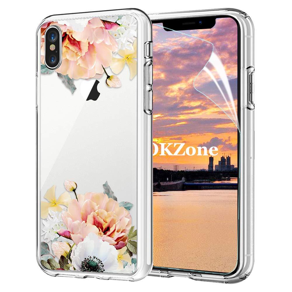 OKZone Coque iPhone XR [avec Film de Protection é cran HD], Floral Flower Blossom Fleur Clair Design Motif Transparente Silicone Gel TPU Souple Housse Etui de Protection pour Apple iPhone XR (Jaune) OKZ-HX-FLORTPU-IX1017039