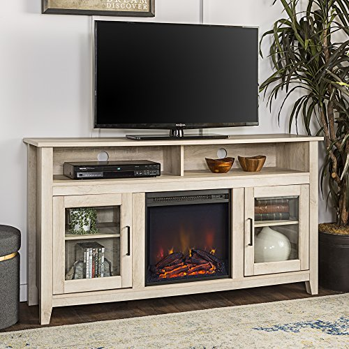 WE Furniture 58' Wood Highboy Fireplace Media TV Stand Console - White Oak