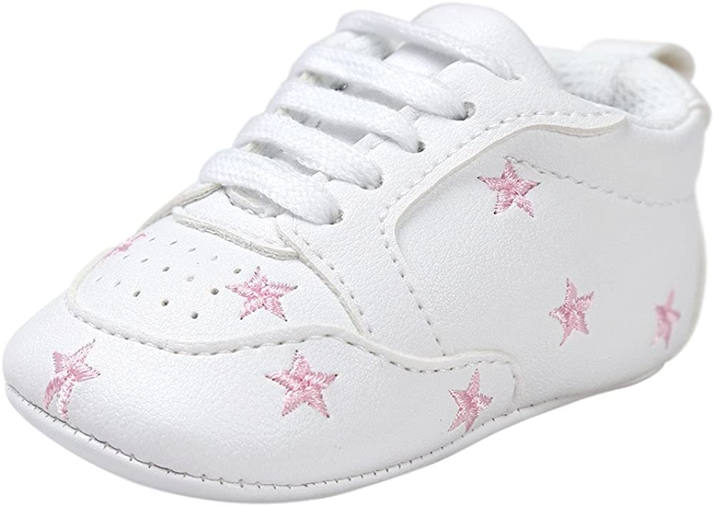 Fossen Recién nacido Bebe Zapatos Cuero artificial Zapatillas con Bordado Pentagram Suela Blanda Antideslizante Primeros pasos Para Bebé Niñas Niño