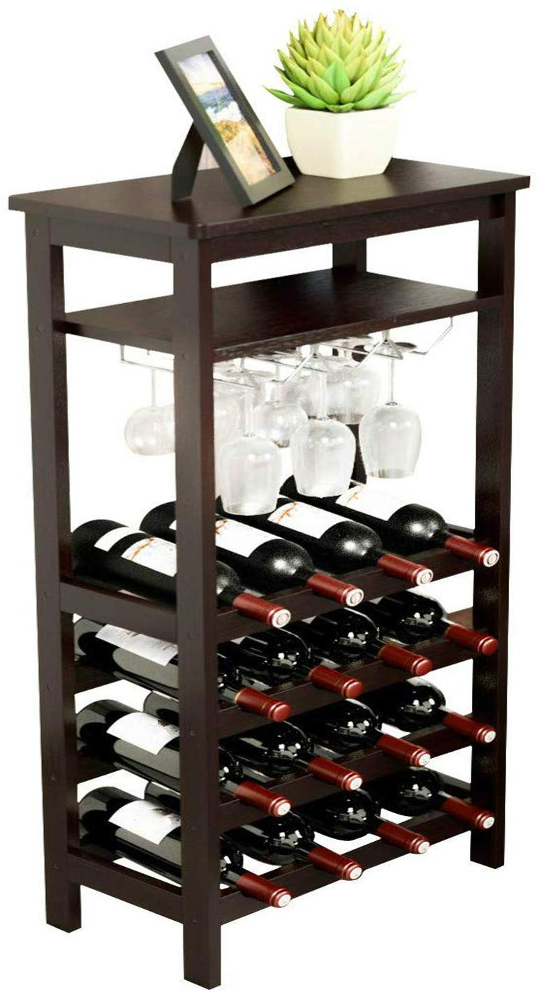 URFORESTIC Bamboo Wine Rack Free Standing Wine Holder Display Shelves with Glass Holder Rack, 16 Bottles Stackable Capacity for Home Kitchen (Retro...) by URFORESTIC