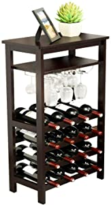 URFORESTIC Bamboo Wine Rack Free Standing Wine Holder Display Shelves with Glass Holder Rack, 16 Bottles Stackable Capacity for Home Kitchen (Retro…)