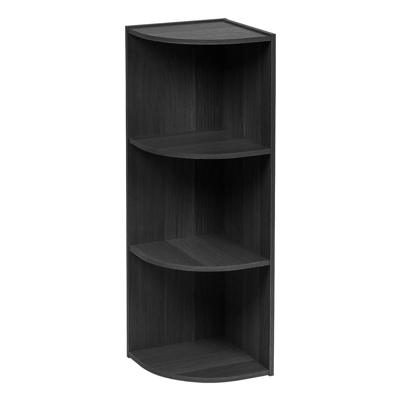 IRIS USA 596491 3-Tier Corner Curved Shelf Organizer, Black