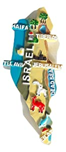 SOUVENIR FRIDGE MAGNET ISRAEL Map new holy land gift.colorful color