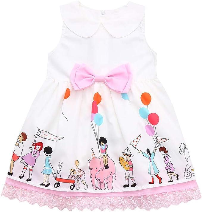 ASHOP Vestidos niña/ Vestido de Encaje de Bowknot Estampado de ...