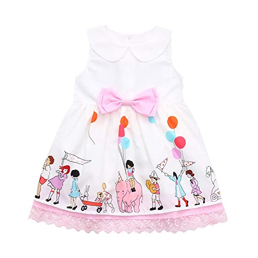 dcebcc704 Amazon.com  Toddler Baby Girls 12 Months-5T Sleeveless Cartoon Print ...