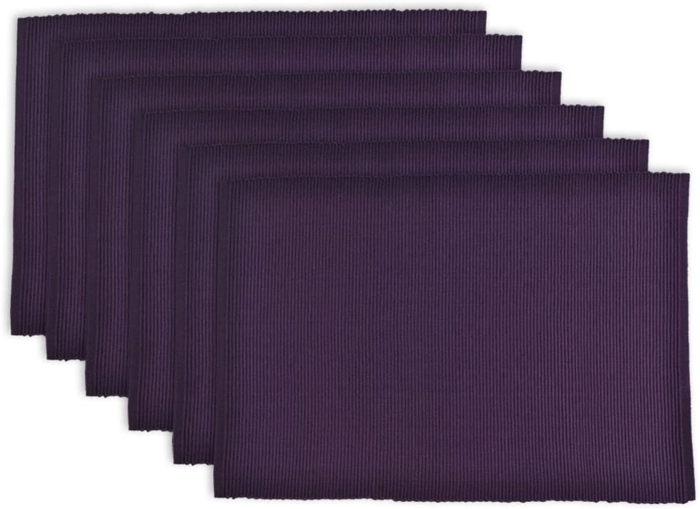 DII Ribbed Placemats 100% Cotton, Set of 6, Set, Eggplant