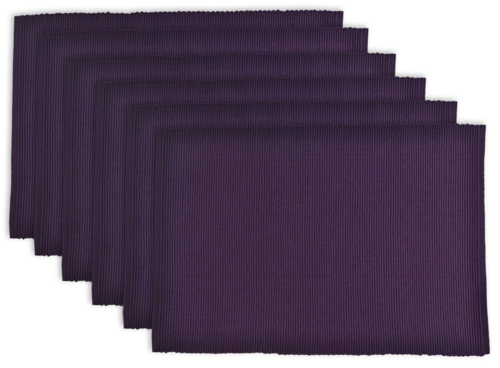 DII Washable Ribbed Cotton Placemat, Set of 6, Eggplant Purple - Perfect for Fall, Halloween, Dinner Parties, BBQs and Everyday Use