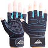 ARETE Gym Weight Lifting Fitness Gloves, Breathable Workout Gloves with Built-in Wrist Wraps, for Cross, Fitness…