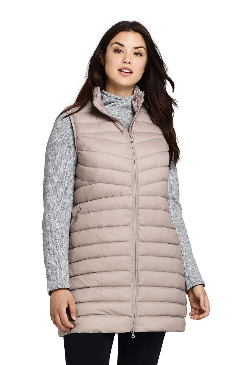 Lands' End Women's Plus Size Ultralight Packable Down Vest 3X Soft Pebble by Lands' End