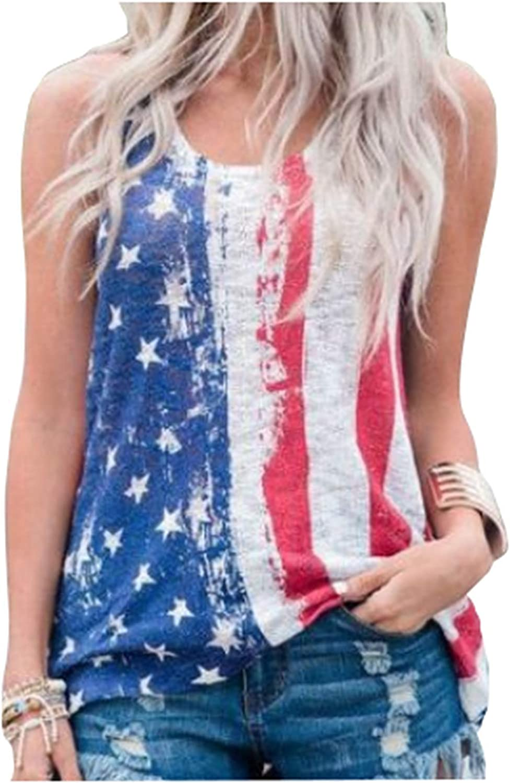 Forlisea Womens Summer Sleeveless Stars and Stripes Pattern Top Raceback Patriotic Casual T Shirt Vest