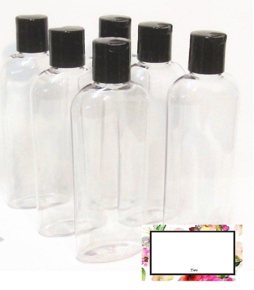 6 oz Clear Cosmo Oval Plastic BAIRE BOTTLES, Black Disc Top Caps 6 Pack, BONUS 6 FLORAL WATERPROOF LABELS