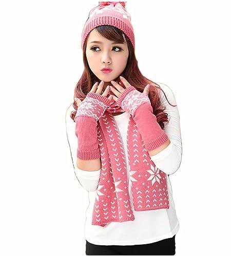 Donna Fiocco Di Neve Modello Coordinati invernali a Maglia(Rosa)