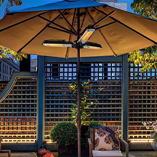 ART TO REAL Electric Patio Parasol Umbrella Heater, Folding Outdoor Electric Infrared Space Heater with 3 Heating Panels for Pergola or Gazabo ()