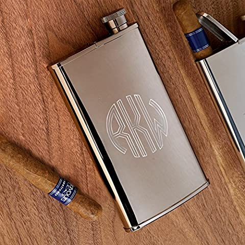 ATW Products Personalized Stainless Steel Flask with Built-in Cigar Case, 4 oz - Circle Monogram - Personalized Cigar Case