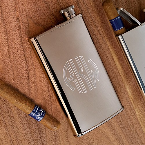 ATW Products Personalized Stainless Steel Flask with Built-in Cigar Case, 4 oz - Circle Monogram (Cigar Flask)