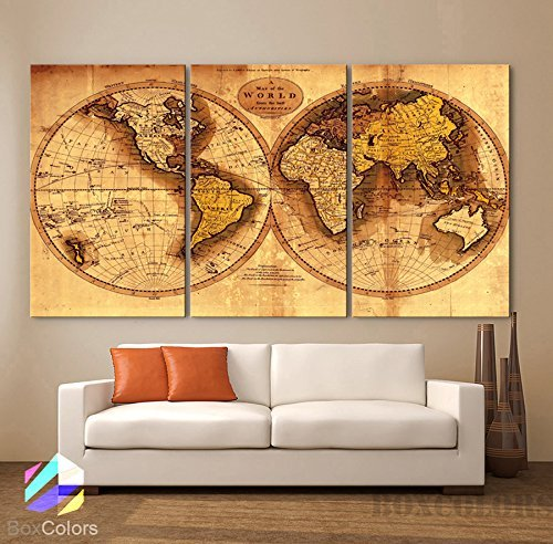 Large 30x 60 3 Panels 30x20 Ea Art Canvas Print Original World Map Old Vintage Rustic Wall Decor Home Office Interior (Included Framed 1.5 Depth) by BoxColors