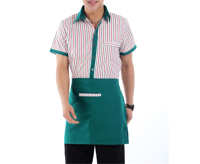 6490783283f Amazon.com  MRxcff Hotel Restaurant Waiter Clothing Summer Short Sleeved  Hotel Uniforms and Restaurant Uniforms  Clothing