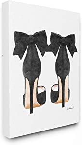 Stupell Industries Glam Pumps Heels With Black Bow Stretched Canvas Wall Art, Proudly Made in USA