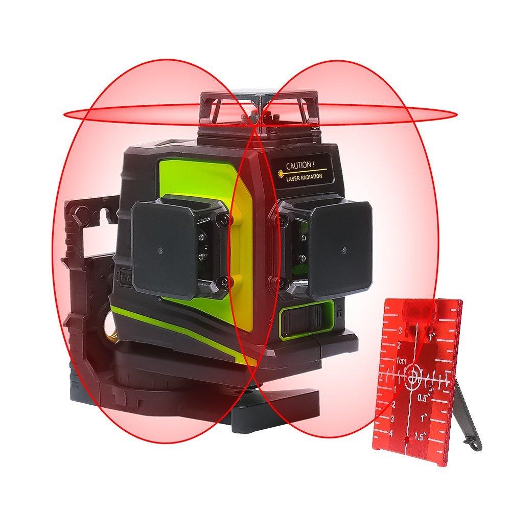Niveau Laser Huepar GF360R 3 x 360, laser en croix multiligne rouge professionnel, Zone de travail de 30m, Auto-nivelant commutable Une ligne à 360° Auto-nivelant commutable Une ligne à 360° FLGF