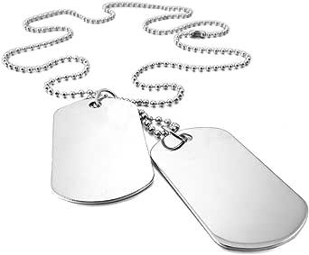 SODIAL 2 PCS Alloy Pendant Necklace Pendant Silver Double Dog Tag plate Army Biker Chain Necklace Man, Woman