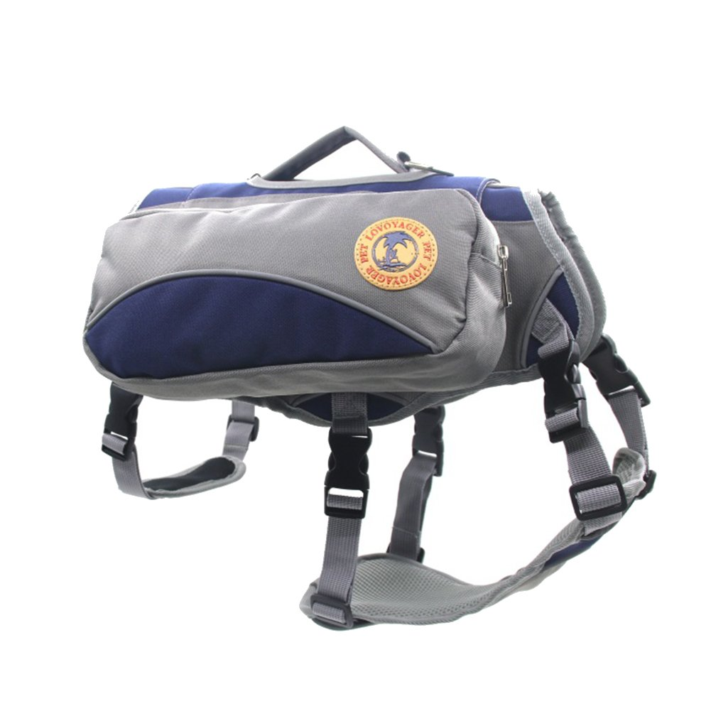 ゼロ犬バックパックサドルバッグアウトドア調節可能な犬のベストハーネスに着用ポータブル通気性 Large ブルー B07F5F9FLW
