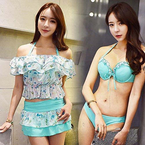 ZHANGYONG*Modèle Maillot 3 pièces bikini grande poitrine petites particules d'acier et au printemps sexy poitrine maillot de split, L, bleu