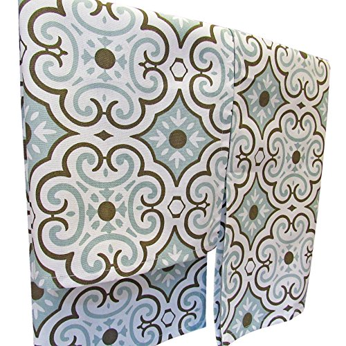Crabtree Collection Premium Quality Set of 2 Kitchen Dish Towels 100% Cotton Absorbent Tea Towels - Classy Blue Small Tile Design - Ideal 18