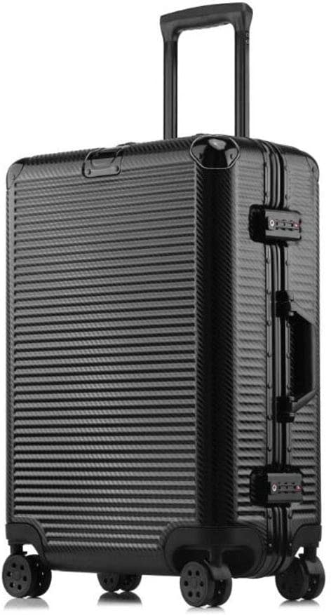 Hongsheng Thick Woven Pattern Scratch-Resistant Aluminum Frame Trolley Case Universal Wheel Suitcase,Black,24