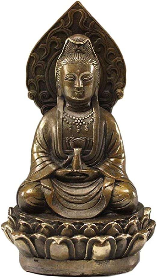 Mini Lucky Solid Brass Chinese Guanyin Buddha Statue Ornament Office Desk Decor