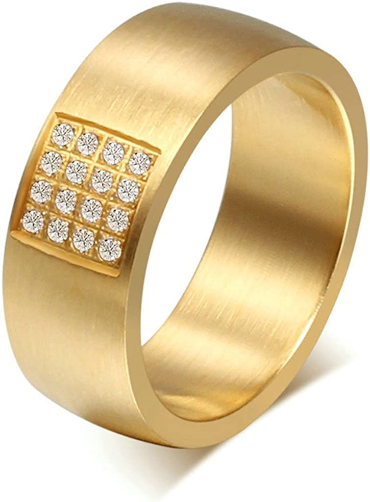 Tianyi Men IP Gold Stainless Steel Comfort Fit Engagement CZ Wedding Band Ring