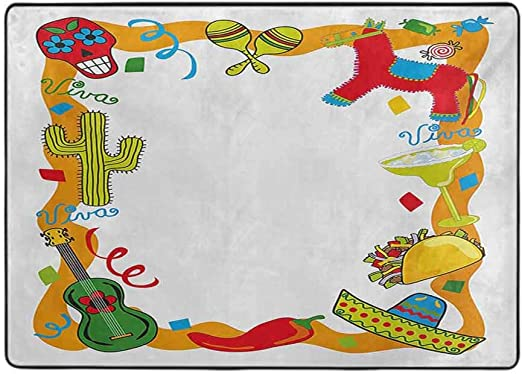 Amazon Com Fiesta Soft Area Rugs For Bedroom Cartoon Drawing Style Mexican Pinata Taco Chili Pepper Sugar Skull Pattern Guitar 3 X 5 Home Decor Floor Carpets Kitchen Dining