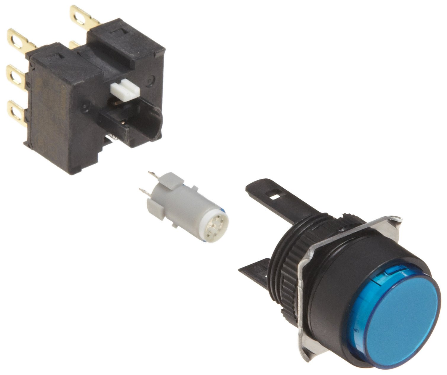 Omron A165L-TAM-24D-2 Projection Type Pushbutton and Switch, Solder Terminal, IP65 Oil-Resistant, 16mm Mounting Aperture, LED Lighted, Momentary Operation, Round, Blue, 24 VDC Rated Voltage, Double Pole Double Throw Contacts