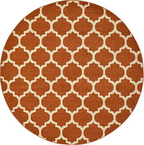 A2Z Rug Trellis Design Collection - 8' x 8'-Feet-Round Area Rugs, Light Terracotta ()