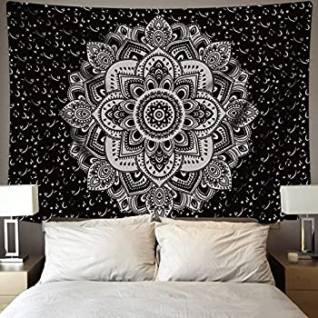 Icejazz Mandala Tapestry Wall Hanging Black U0026 White Wall Art Floral  Decorative For Bedroom Living Room