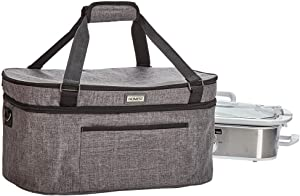 HOMEST Slow Cooker Travel Bag with Easy to Clean Lining, Insulated Carrier with Zippered Accessory Pocket, Carry Case Compatible with Crock Pot 3.5 Quart (Patent Design)