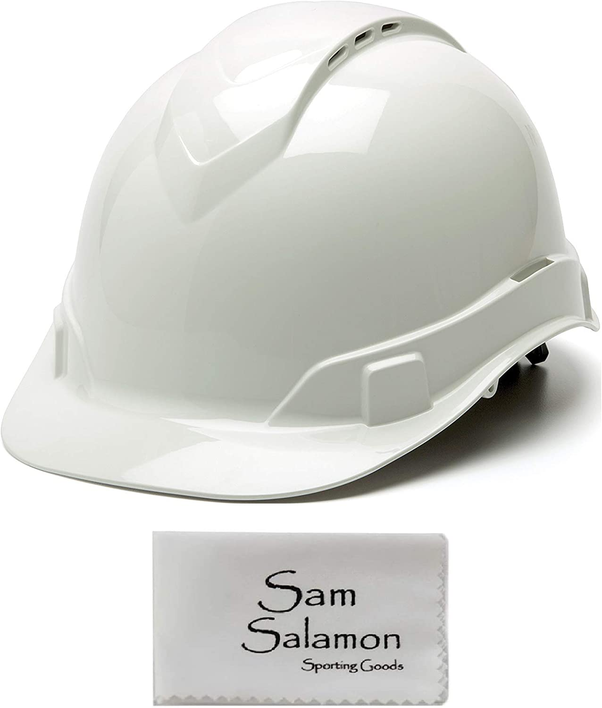 Pyramex Ridgeline Cap Style Hard Hat, Vented, 4-Point Ratchet Suspension, White w/Micro Sam Salamon Cloth
