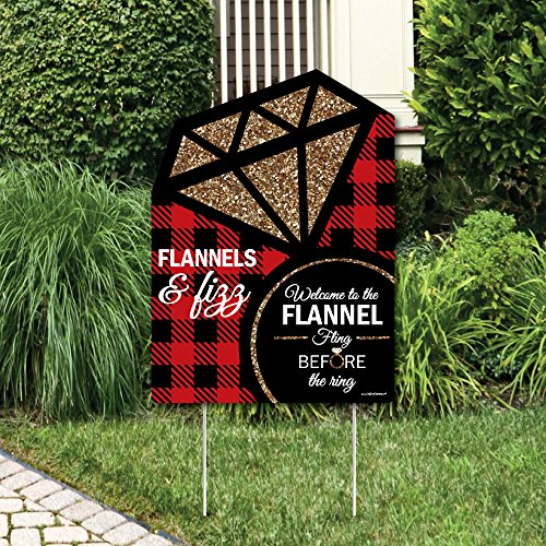 (Big Dot of Happiness Flannel Fling Before the Ring - Party Decorations - Buffalo Plaid Bachelorette Party Welcome Yard Sign)