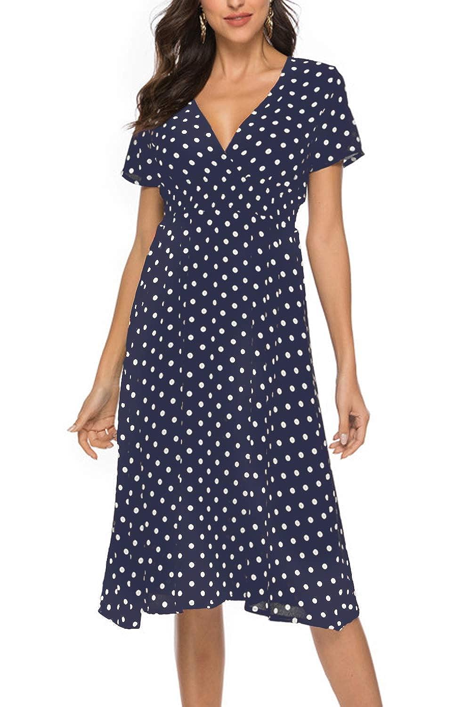 FUTURINO Damen Sommerkleid Elegant Vintage Cocktailkleid Kurzarm Kleider Unregelmäßige Strandkleid mit Knöpfen