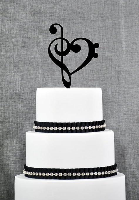 Treble Bass Clef Heart Cake Topper Music Heart Wedding Cake Topper Musician  Wedding Custom Colors Fun