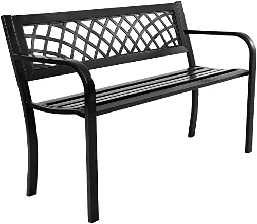 Giantex Patio Garden Bench Loveseats Park Yard Furniture Decor Cast Iron Frame Black Black Steel W/PVC Mesh Pattern