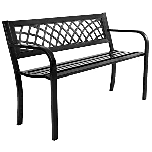 "Giantex 50"" Patio Garden Bench Loveseats Park Yard Furniture Decor Cast Iron Frame Black (Black Steel W/PVC Mesh Pattern)"