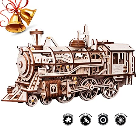ROBOTIME 3D Assembly Wooden Puzzle Laser-Cut Locomotive Review