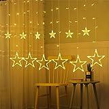 Luces de cortina, luces de estrella de hadas, 12 estrellas, 138 ledes, para interiores y exteriores, cadena de iluminación para vacaciones, bodas, Navidad, fiestas, casa, exteriores, 3 m