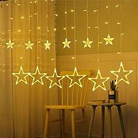 Rideau Lumiere,Guirlande Lumière 12 Étoiles 138 LEDs 3M Éclairage Intérieure de Noël Décoration Lumineuse Mariage, Partie, Maison, Pelouse De Patio [Blanc Chaud]