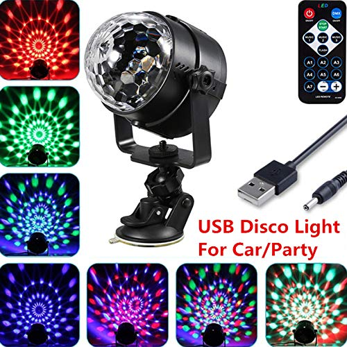 Bingirl USB Disco Light Car Light 7 Color Changing RGB Mini Crystal Magic Rotating Ball Effect Light Party Disco Club DJ Light Show 3W Voice-Activated Self-propelled Strobe with Remote Control