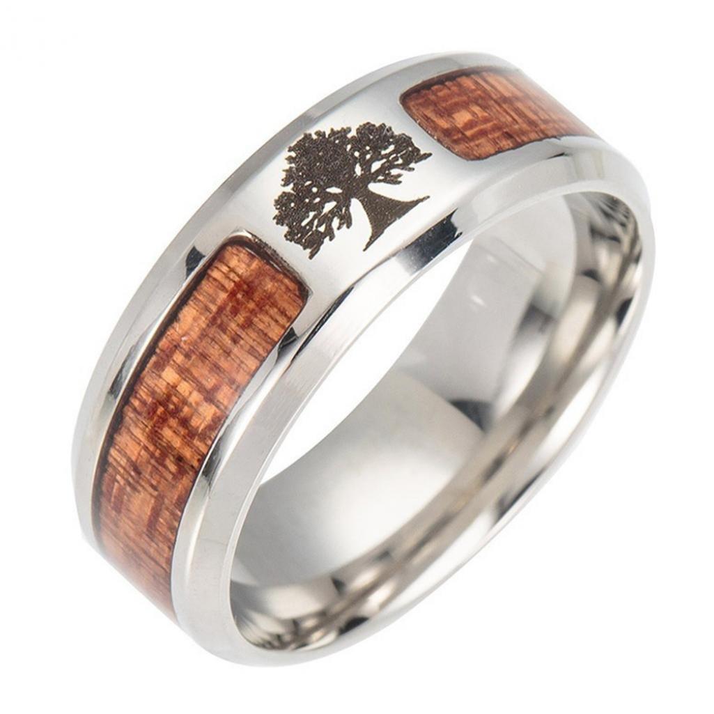 Unisex legno intarsiato in acciaio INOX albero della vita Cross finger Ring Jewelry Gift Amesii
