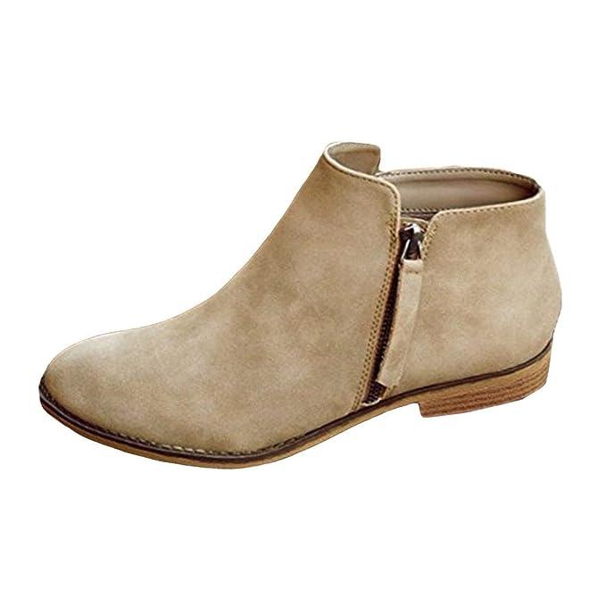 Mymyguoe Mujer Vintage Tacón bajo Tacón Grueso Botas Cortas Botines Botas Zapatos Botas de Cuero de Gamuza de Black Friday Botas Planas de Mujer Zapatos ...