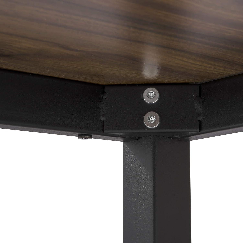 WOLTU Mesa de Bar Mesa de Bistro Mesa de Comedor con Tres Estantes Estructuras para Vino Metal+MDF 130x40x100cm Negro BT31sz