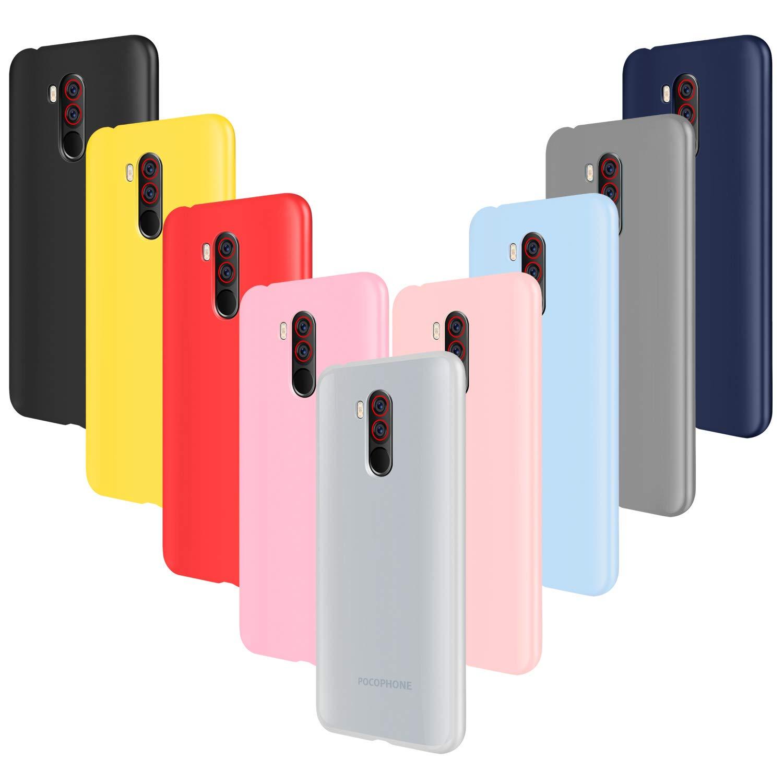 ivencase 9 × Funda Xiaomi Pocophone F1, Carcasa Fina TPU Flexible Cover para Xiaomi Pocophone F1 (Rosa Gris Rosa Claro Amarillo Rojo Azul Oscuro ...
