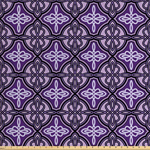 Ambesonne Celtic Fabric by The Yard, Ethnic Unique Celtic Knot Figures with Swirling and Twisted Line Details Print, Decorative Fabric for Upholstery and Home Accents, 1 Yard, Violet Lilac